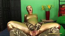 brutal anal in golden spandex catsuit