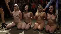 Horny slaves rough banged in public