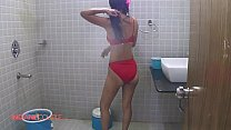 Indian Wife Reenu Shower Erotic Red Lingerie Getting Nude