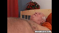 Blonde babe with big tits gets fucked by an old man