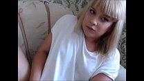 Blonde Transsexual Cums on Herself on Live Cam