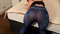 blue jeggings bubble butt