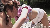 Japanese Teen Sucking Cock Outdoors thumbnail