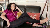 Sexy Down Blouse Exotic Babe puts feet up in tight leggings