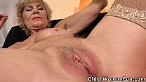Old granny Inke dildos her soaking wet cunt