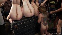 Group of slaves rough anal banging