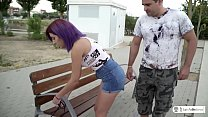LAS FOLLADORAS - First time porn pickup and fuck with purple haired Spanish thumbnail