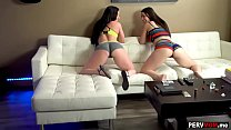 Stepmom and stepdaughter double blowjob for stepson