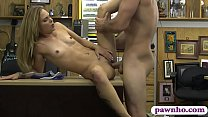 Tiny boobs babe gets boned by pawn dude