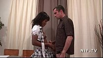 French black student in schoolgirl uniform double penetrated by 2 white dicks Preview