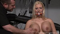 Busty german slave Melanie Moons tounge tied tit tortures and rough hardcore dom