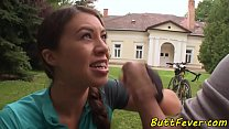 Euro beauty assfucked after cycling outdoors video