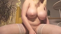 Blonde Teen In Stockings With Perfect Big Boobs