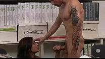 Busty Brunette secretary Raylene gives her coworker some hot pussy and fucks preview image