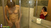 Old lady and cute teen shower and toysex video