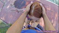Redheaded teen rides cock thumbnail
