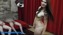 Raven teen gives BJ and fucks hard in threesome preview image