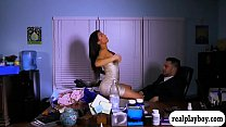 Babe sucks off and banged on office desk