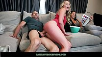 Horny Teen Rides Stepdad While Mom Watches A Movie