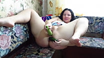 Anal and vaginal organic masturbation with vegetables A wide zucchini and a cucumber fucked two holes of a busty milf Homemade fetish
