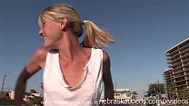 tiny skinny blonde from st pete florida illegally naked on the beach