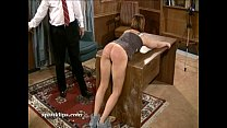 Upset bruntte is taken a serious spanking image