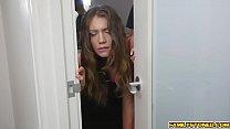 Step bro drills Elena Koshkas teen pussy deep thumb