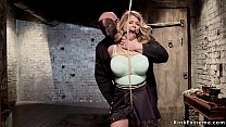 Gagged blonde gets big tits tied Preview