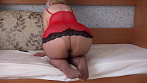 Foot fetish in pantyhose and hairy pussy masturbation. Chubby milf with big tits, juicy PAWG, and sexy legs in nylon fingering at home.