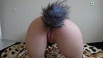 Milf fucked a lesbian in a cat suit, anal and double penetration for a double pleasure, shaking a beautiful ass. POV.