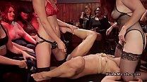 Lezdom anal pounding in dyke bar