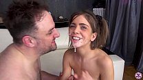 Pigtailed Cutie Takes Hot Load Over Her Tongue