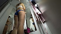 Peeping into the public dressing room, a view from below on a juicy ass and on a sexy girl with long legs, hidden camera. Vorschaubild
