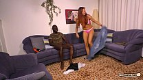 HAUSFRAU FICKEN - Black on white sex and cum on tits with mature German redhead Preview