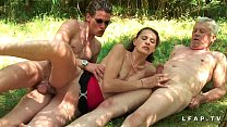 French brunette amateur fucked in a threesome in the countryside