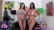 SWALLOWED Angela White & Violet Myers gag on a big one