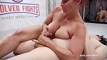 Bella Rossi mixed sex wrestling gives a handjob then Strapon Fucks the loser