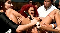 Ebony slave gets toyed in public