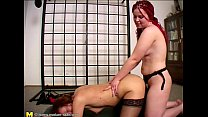 Horny mature playing with a teen