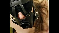 Deepthroat with bdsm mask gagging in cock