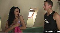 Cheating slut riding her BF's bro cock