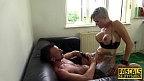 Busty milf deep throats and rides Pascal White