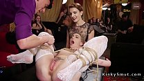 Black and white babes in bdsm orgy party