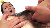 Hairy pussy fingering, gaping and hard fucking from Mature Gapers