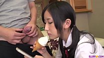 Teen Japanese gets started with two horny men - More at Slurpjp.com