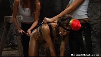 Lesbian mistresses training and whipping their slaves