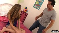 Stepdad teaches naughty teenie some discipline with his cock
