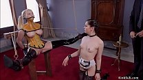 Slave in plastic corset anal fucked