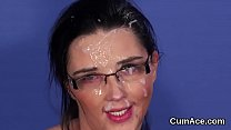 Kinky sex kitten gets sperm load on her face swallowing all the jism thumbnail