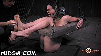 Tied up beauty waits with fear for her next hot punishment